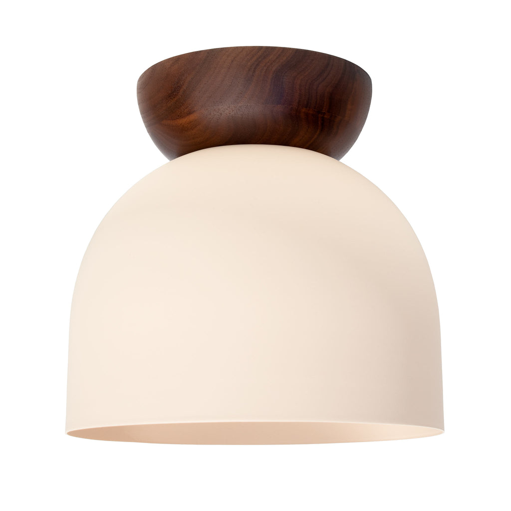 "Amelie Surface 8"". Blush with Walnut wood canopy finish shown. (A19 light bulb shown, not included). Cedar and Moss."