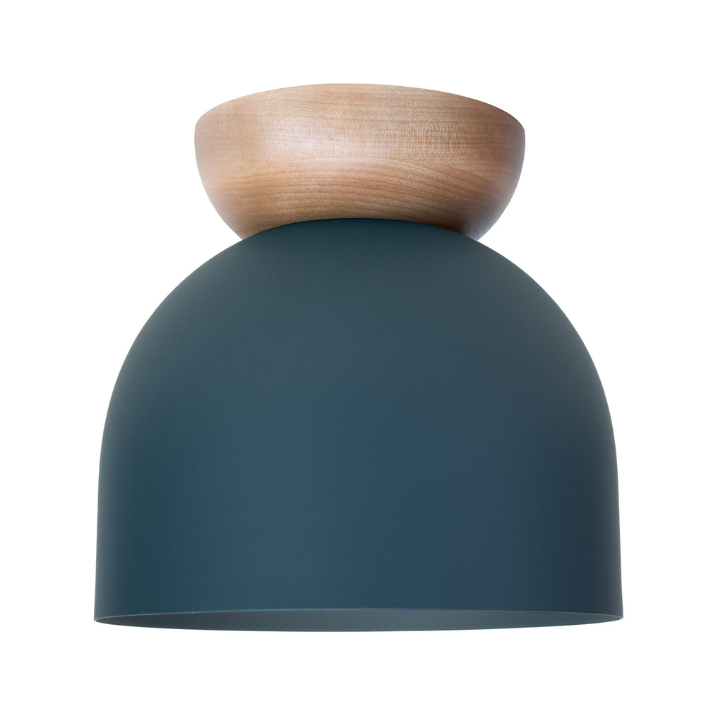 "Amelie Surface 8"". Ocean Blue with Birch wood canopy finish shown. (A19 light bulb shown, not included). Cedar and Moss."