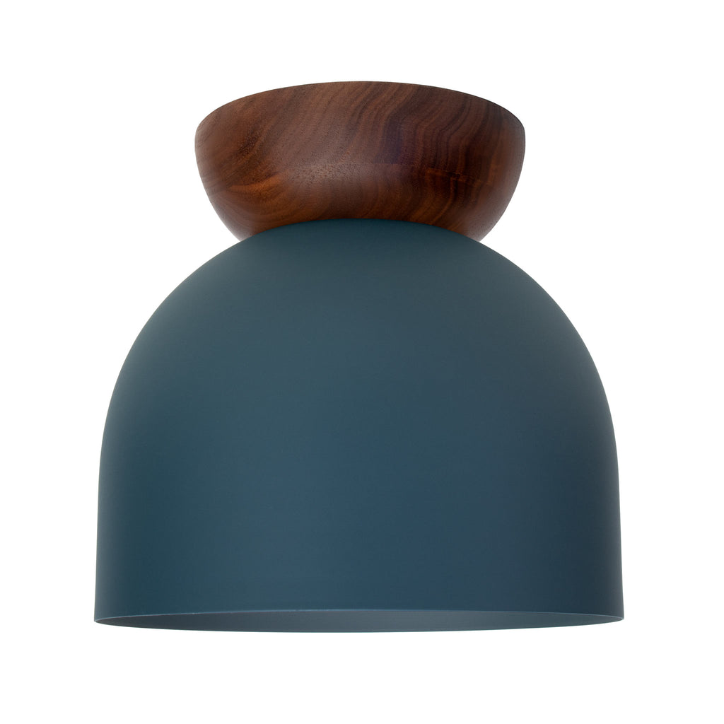 "Amelie Surface 8"". Ocean Blue with Walnut wood canopy finish shown. (A19 light bulb shown, not included). Cedar and Moss."