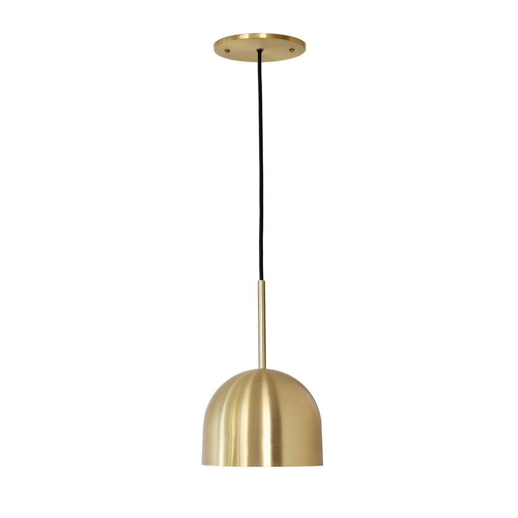 "Amelie Cord 6"". Brass with brass rod addition and black cord. Cedar and Moss."