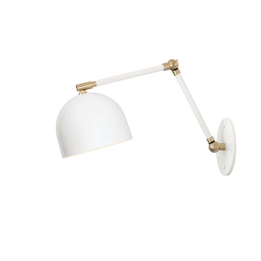 "Amelie Double Articulated 6"". Shown in White + Brass finish. (G19 light bulb shown, not included). Cedar and Moss."