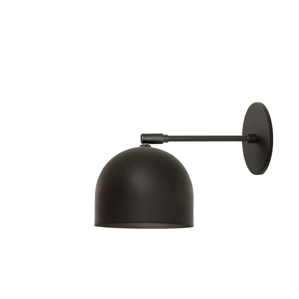 "Amelie Sconce 6"". Shown in Matte Black finish with 6"" arm. (G19 light bulb shown, not included). Cedar and Moss."