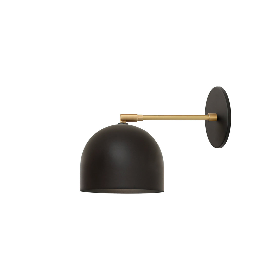 "Amelie Sconce 6"". Shown in Matte Black + Brass finish with 6"" arm. (G19 light bulb shown, not included). Cedar and Moss."