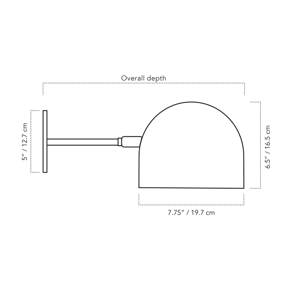 "Amelie Sconce 8"" illustration with measurements. Cedar and Moss."