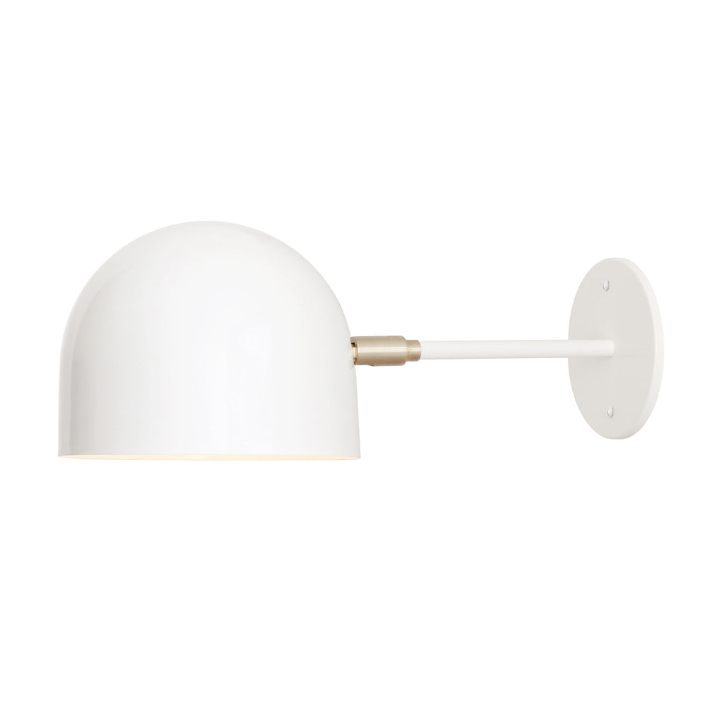 "Amelie Sconce 8"" light fixture. Shown in White and Brass metal finish. Cedar and Moss."