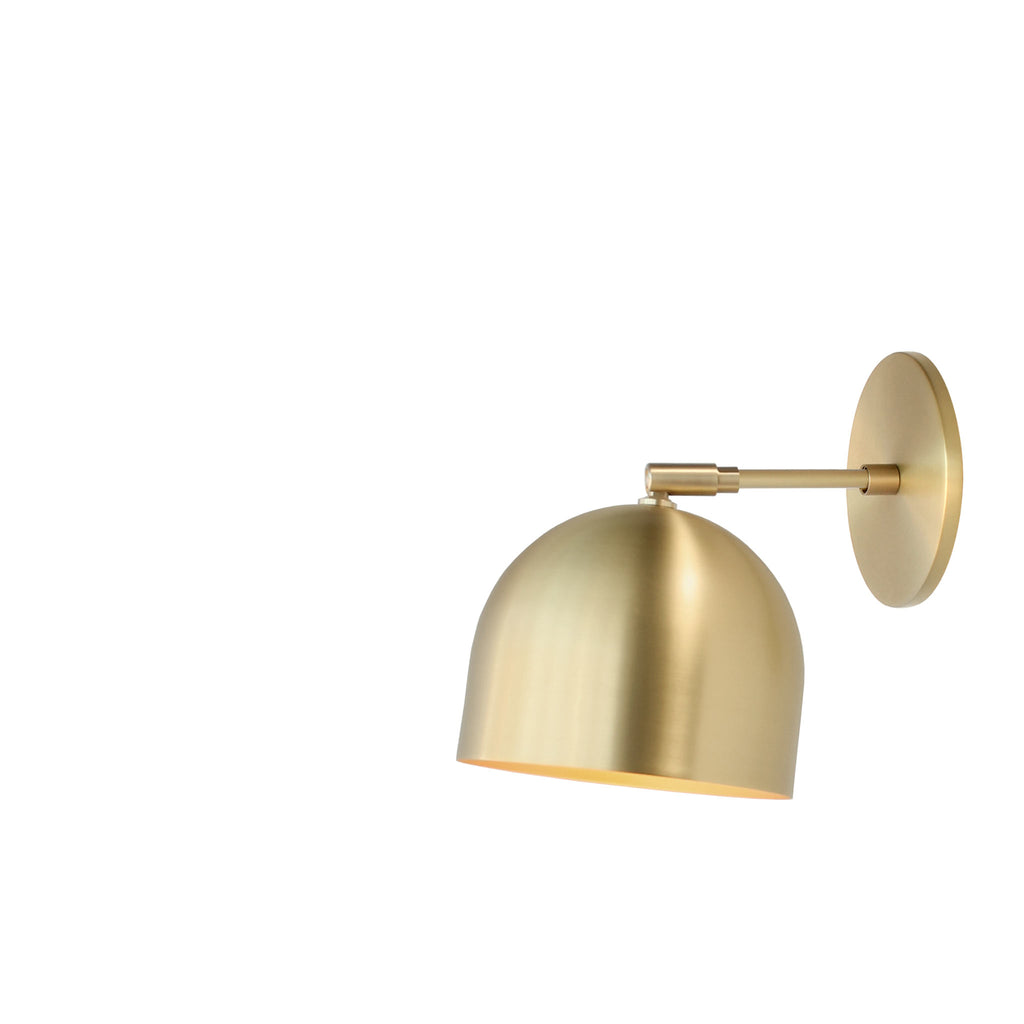 "Amelie Sconce 6"". Shown in Brass finish with 3"" arm. (G19 light bulb shown, not included). Cedar and Moss."