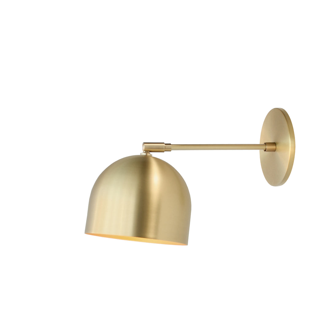 "Amelie Sconce 6"". Shown in Brass finish with 6"" arm. (G19 light bulb shown, not included). Cedar and Moss."