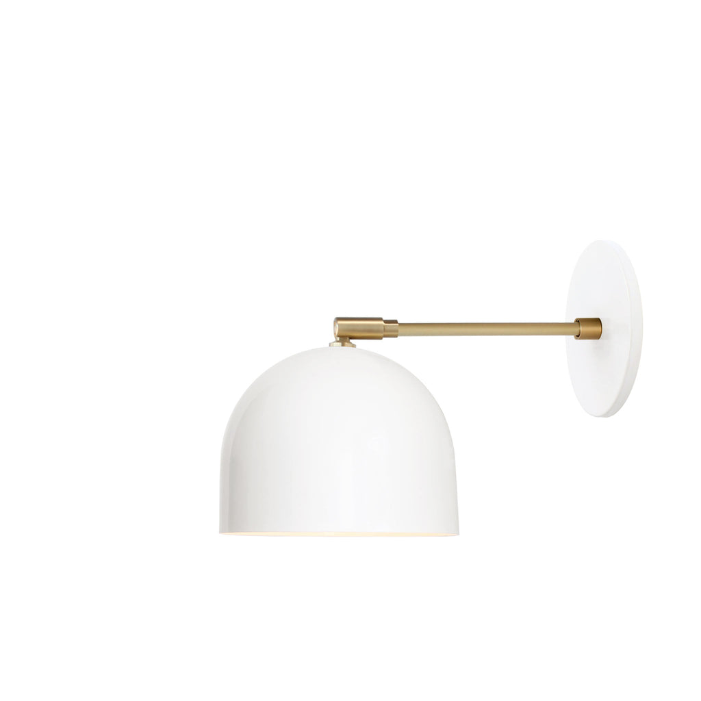 "Amelie Sconce 6"". Shown in White + Brass finish with 6"" arm. (G19 light bulb shown, not included). Cedar and Moss."