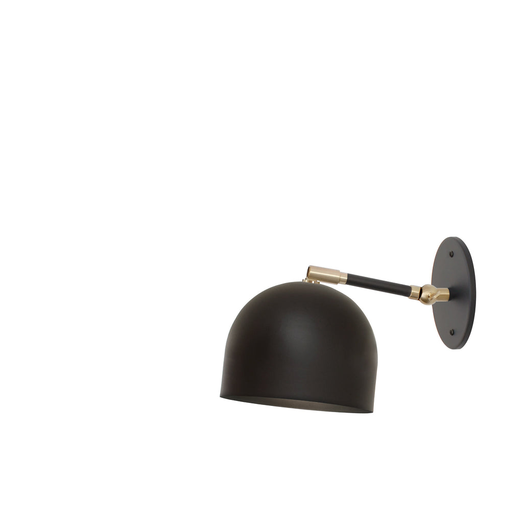 "Amelie Single Articulated 6"". Shown in Matte Black + Brass finish with 3"" arm. (G19 light bulb shown, not included). Cedar and Moss."