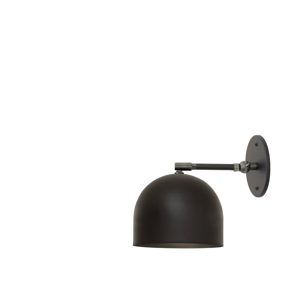 "Amelie Single Articulated 6"". Shown in Matte Black + Graphite Patina finish with 3"" arm. (G19 light bulb shown, not included). Cedar and Moss."