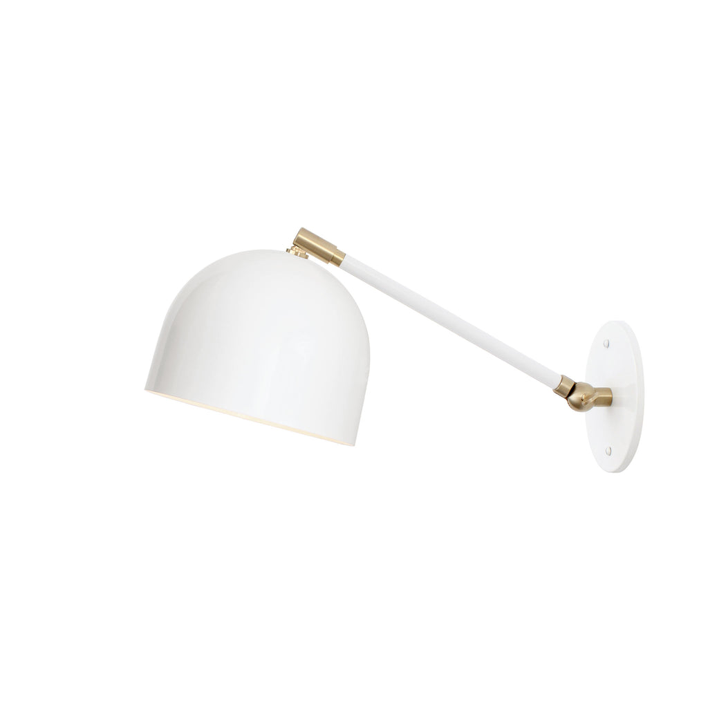 "Amelie Single Articulated 6"". Shown in Gloss White + Brass finish. (G19 light bulb shown, not included). Cedar and Moss."