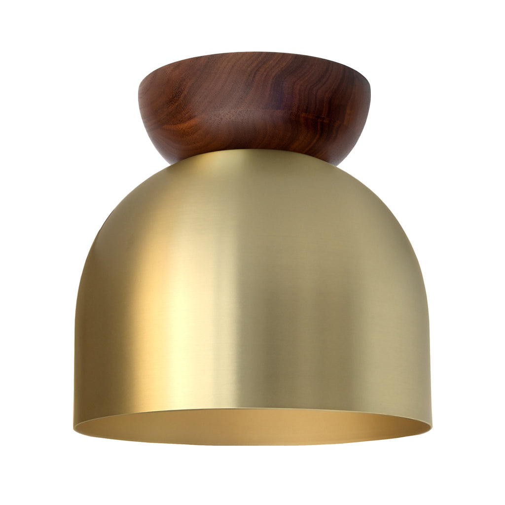 "Amelie 8"" Surface. Brass finish with Walnut wood canopy shown. (A19 light bulb shown, not included). Cedar and Moss."
