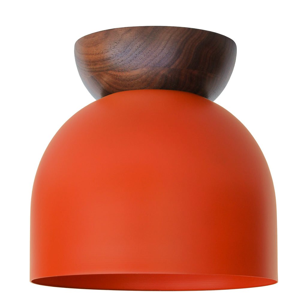 "Amelie Surface 10"". Persimmon finish with Walnut wood canopy shown. (A19 light bulb shown, not included). Cedar and Moss."