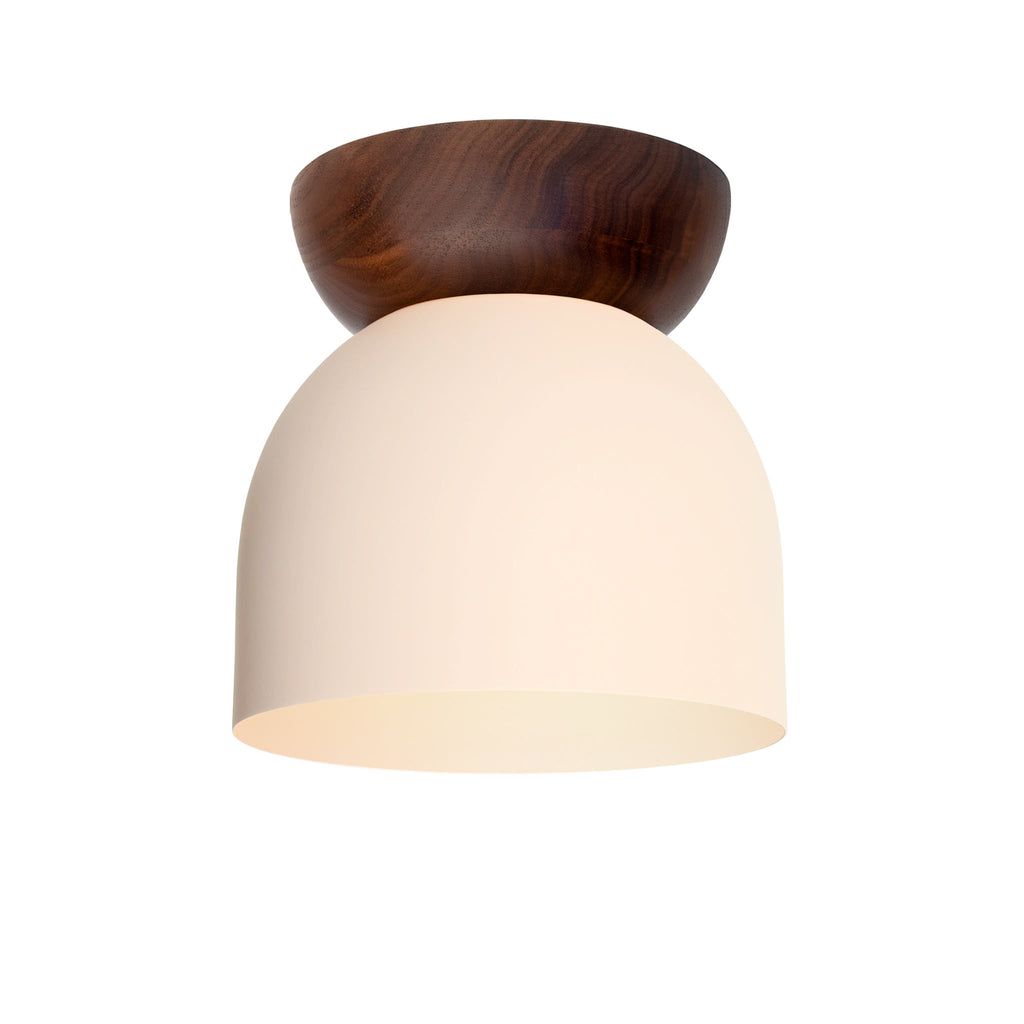"Amelie Surface 6"". Blush finish with Walnut wood canopy shown. (G19 light bulb shown, not included). Cedar and Moss."