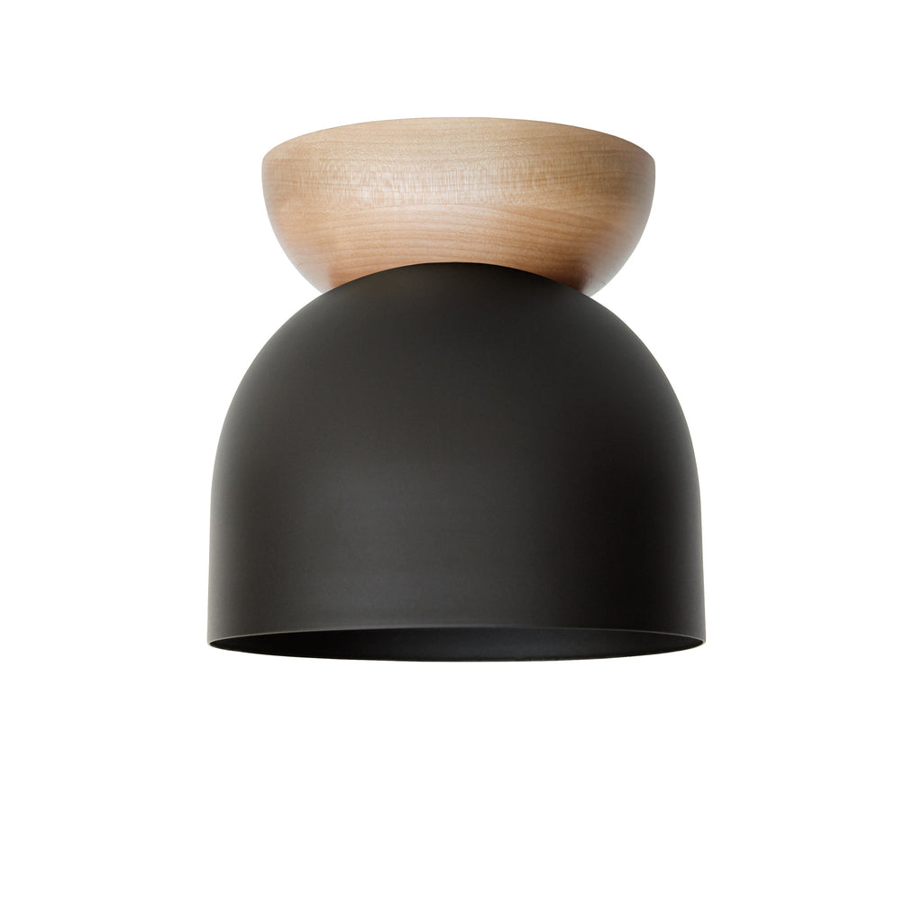 "Amelie Surface 6"". Matte Black finish with Birch wood canopy. (G19 light bulb shown, not included). Cedar and Moss."