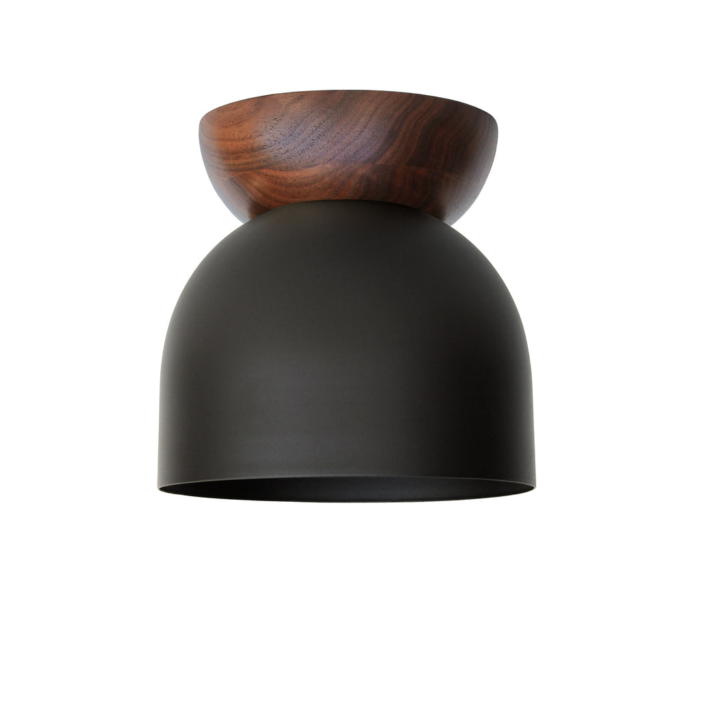 "Amelie Surface 6"". Matte Black finish with Walnut wood canopy. (G19 light bulb shown, not included). Cedar and Moss."