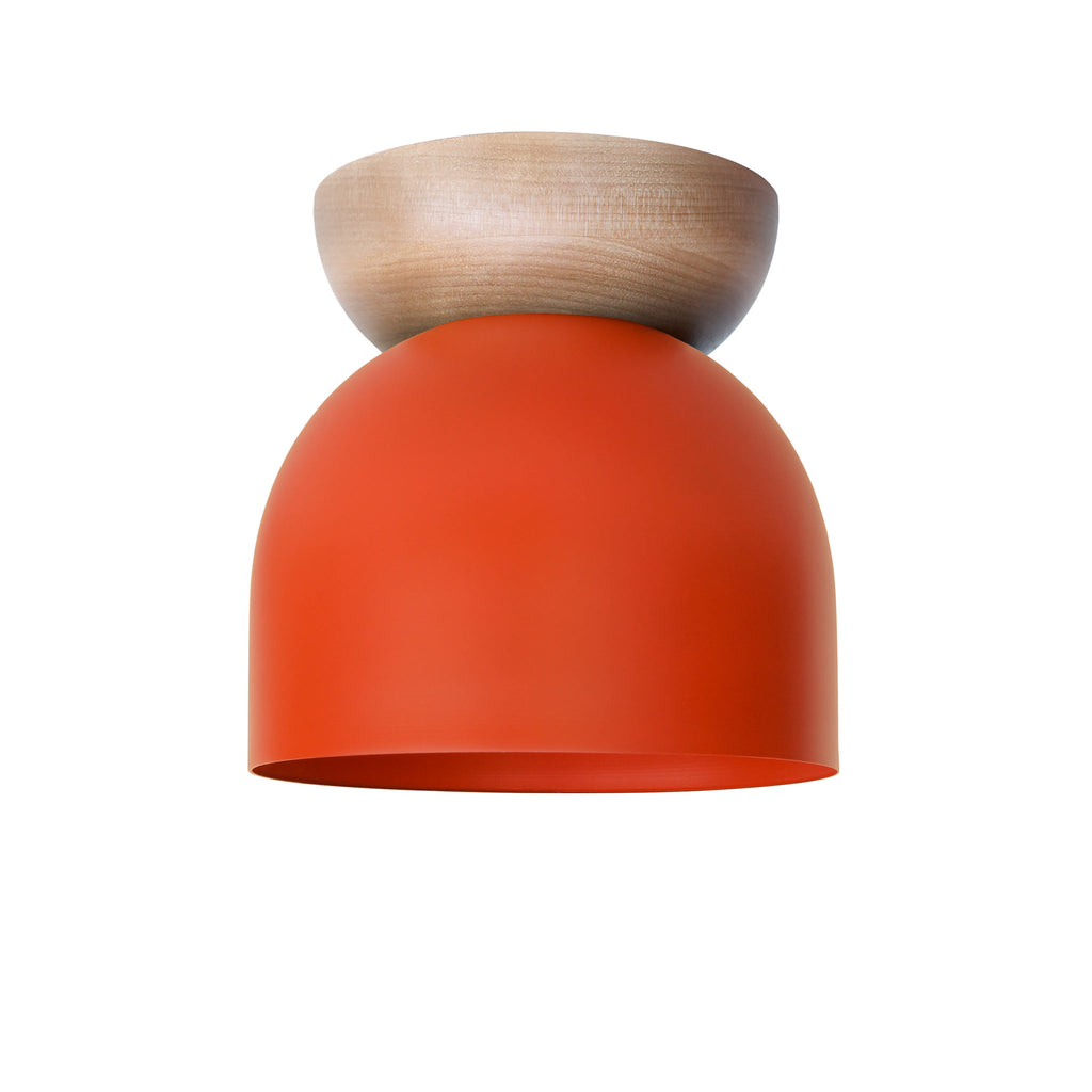 "Amelie Surface 6"". Persimmon finish with Birch wood canopy. (G19 light bulb shown, not included). Cedar and Moss."