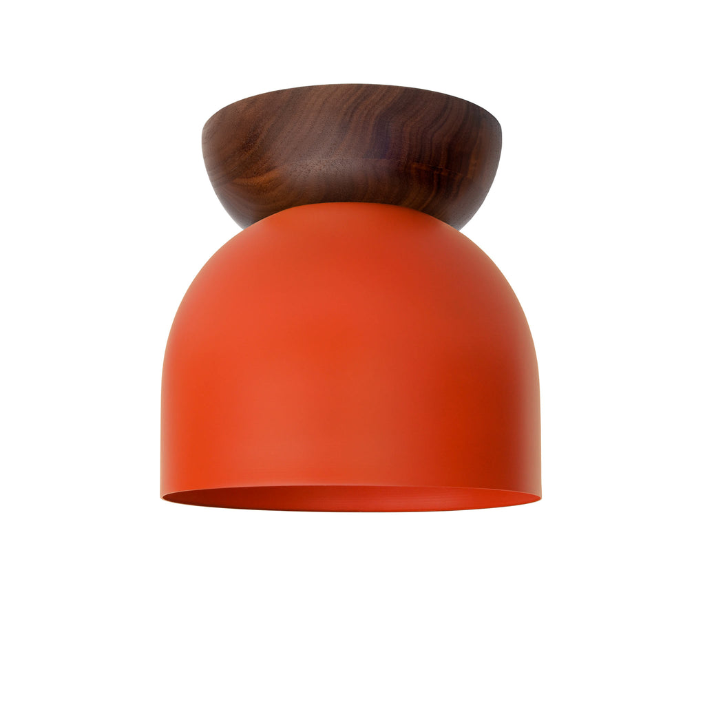 "Amelie Surface 6"". Persimmon finish with Walnut wood canopy. (G19 light bulb shown, not included). Cedar and Moss."