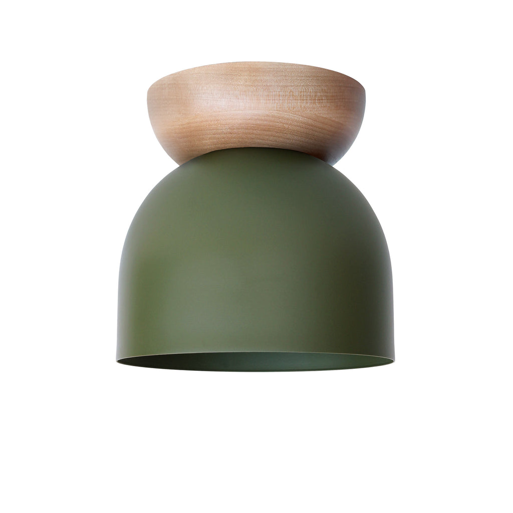 "Amelie Surface 6"". Secret Garden Green finish with Maple wood canopy. (G19 light bulb shown, not included). Cedar and Moss."