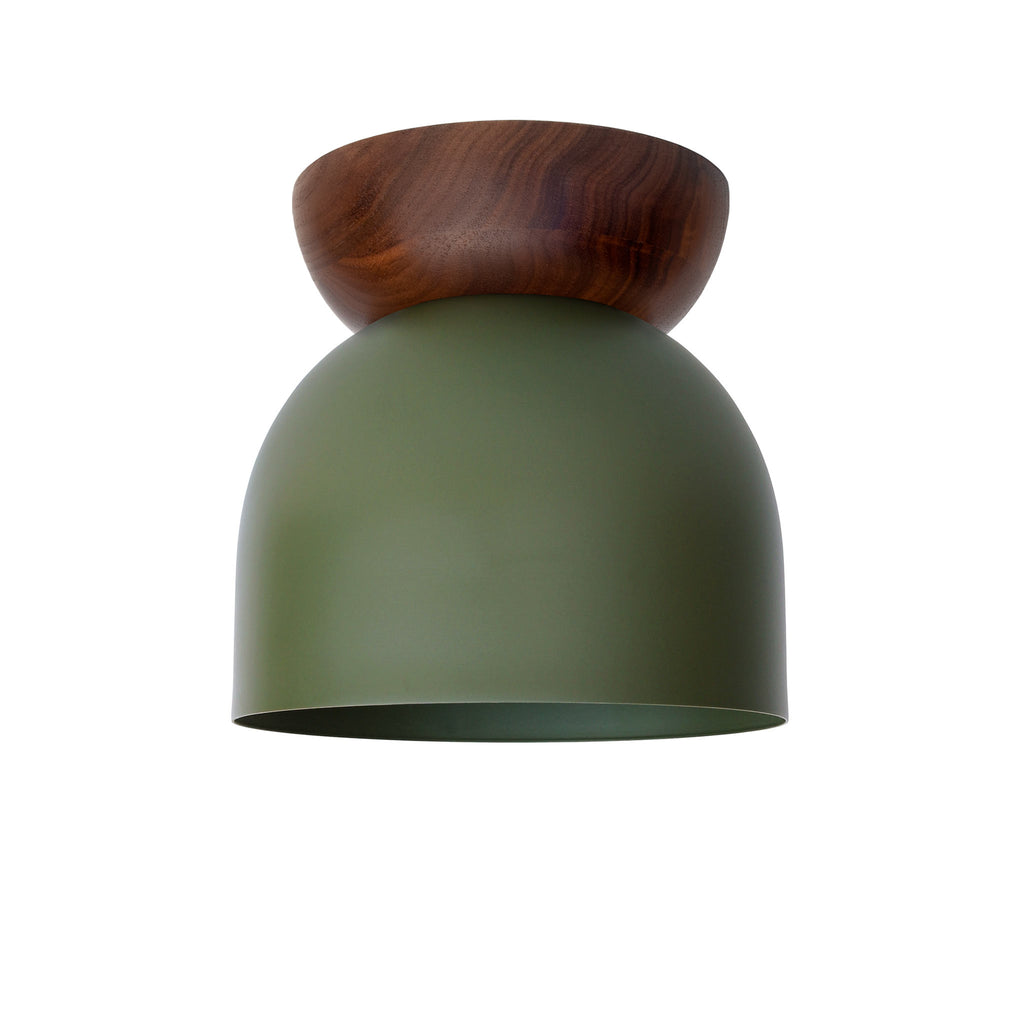 "Amelie Surface 6"". Secret Garden Green finish with Walnut wood canopy. (G19 light bulb shown, not included). Cedar and Moss."