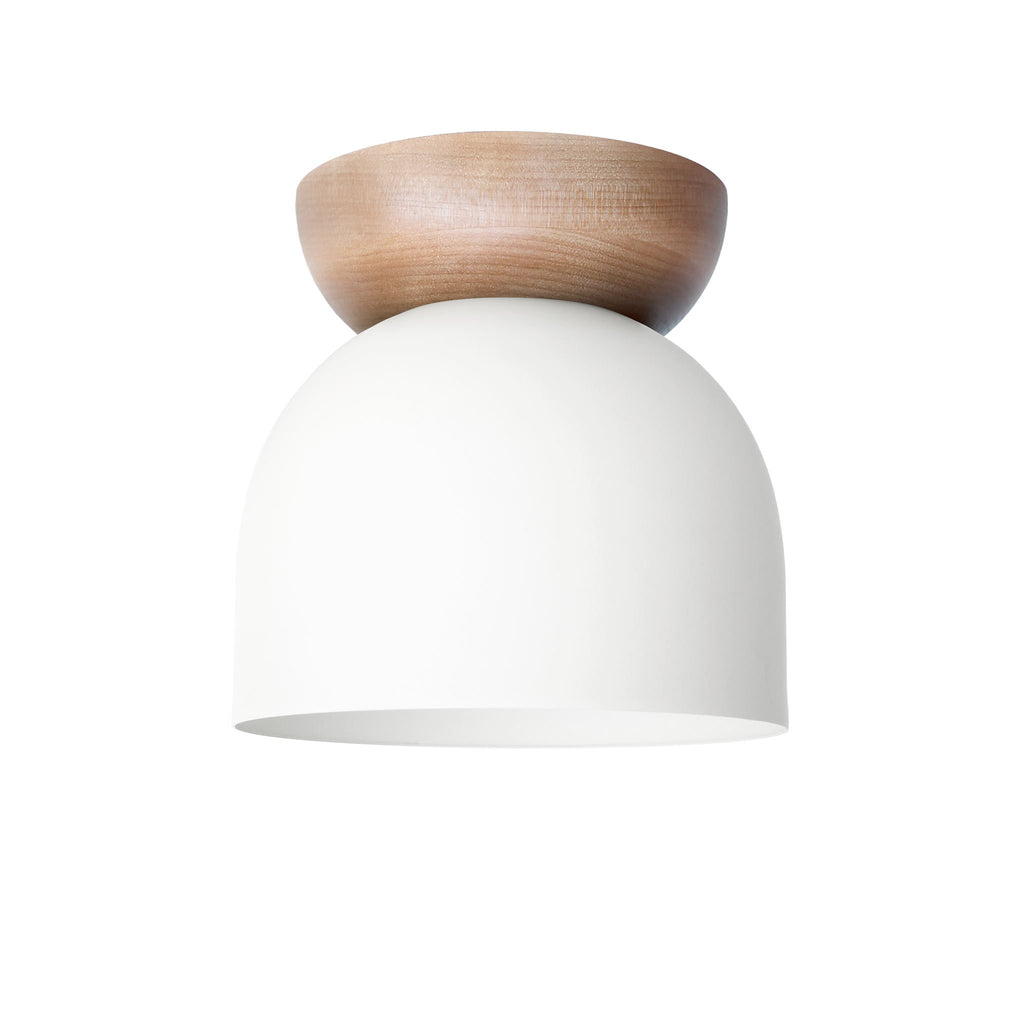 "Amelie Surface 6"". White finish with Maple wood canopy. (G19 light bulb shown, not included). Cedar and Moss."
