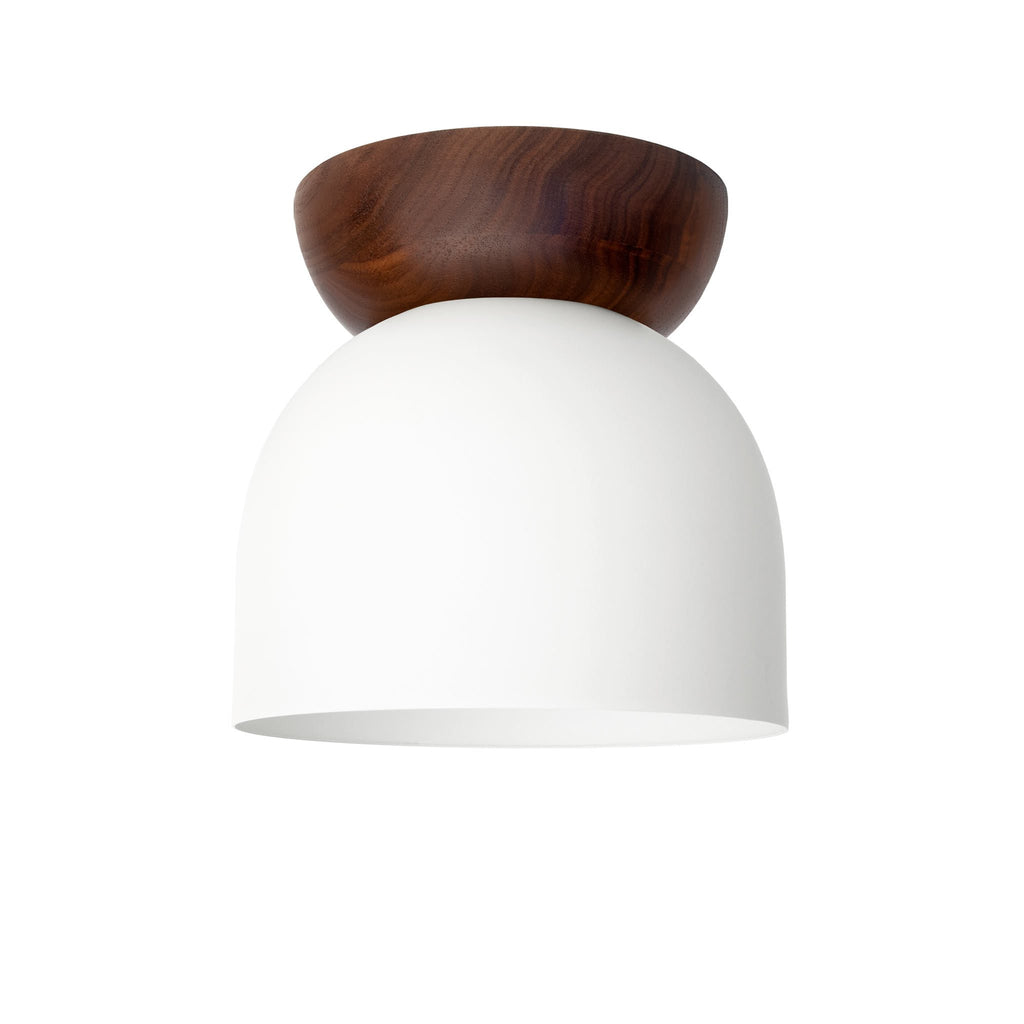"Amelie Surface 6"". White finish with Walnut wood canopy. (G19 light bulb shown, not included). Cedar and Moss."