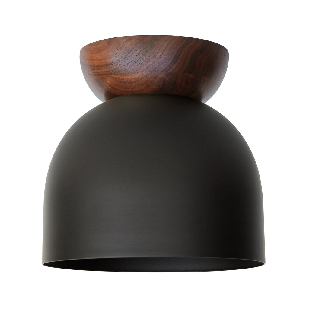 "Amelie Surface 8"". Matte Black finish with Walnut wood canopy shown. (A19 light bulb shown, not included). Cedar and Moss."