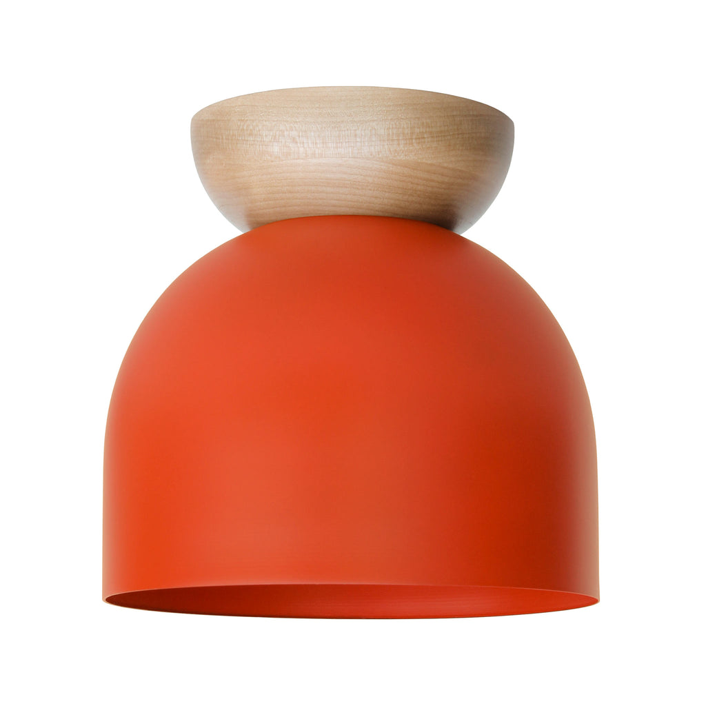 "Amelie Surface 8"". Persimmon finish with Maple wood canopy shown. (A19 light bulb shown, not included). Cedar and Moss."