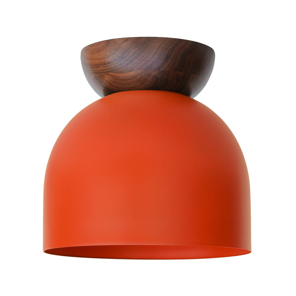 "Amelie Surface 8"". Persimmon finish with Walnut wood canopy shown. (A19 light bulb shown, not included). Cedar and Moss."