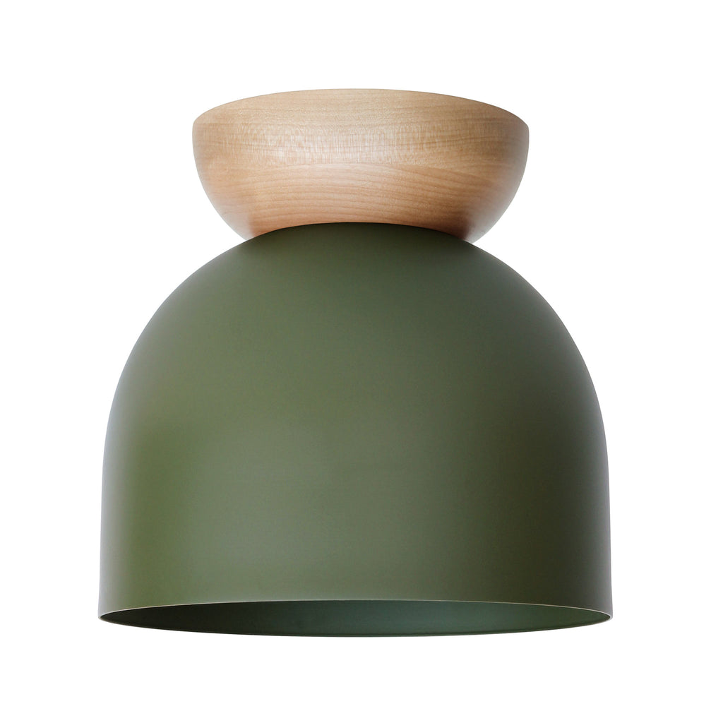 "Amelie Surface 8"". Secret Garden Green finish with Birch wood canopy shown. (A19 light bulb shown, not included). Cedar and Moss."
