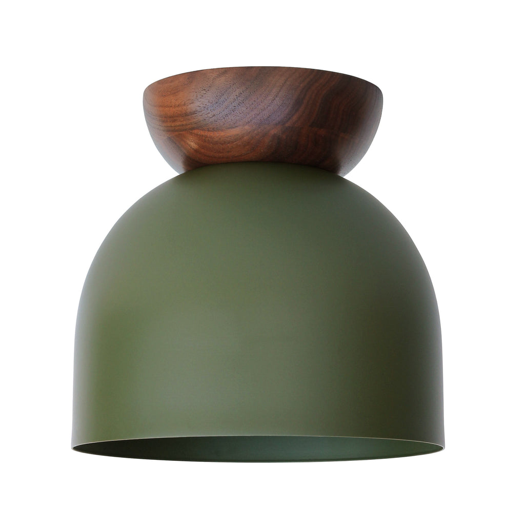 "Amelie Surface 8"". Secret Garden Green finish with Walnut wood canopy shown. (A19 light bulb shown, not included). Cedar and Moss."