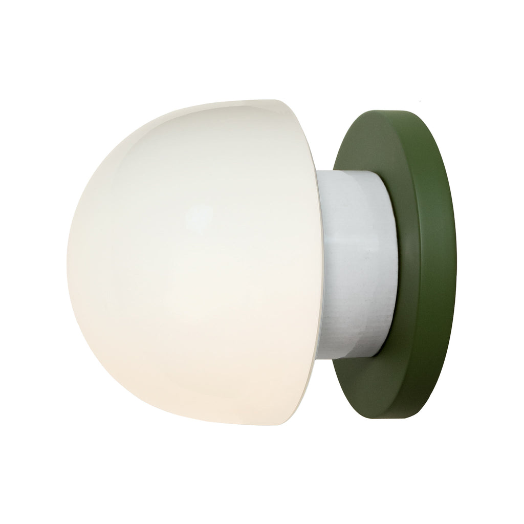 Anni wall or ceiling light. Shown in Secret Garden Green finish. (LED light bulb included). Cedar and Moss.