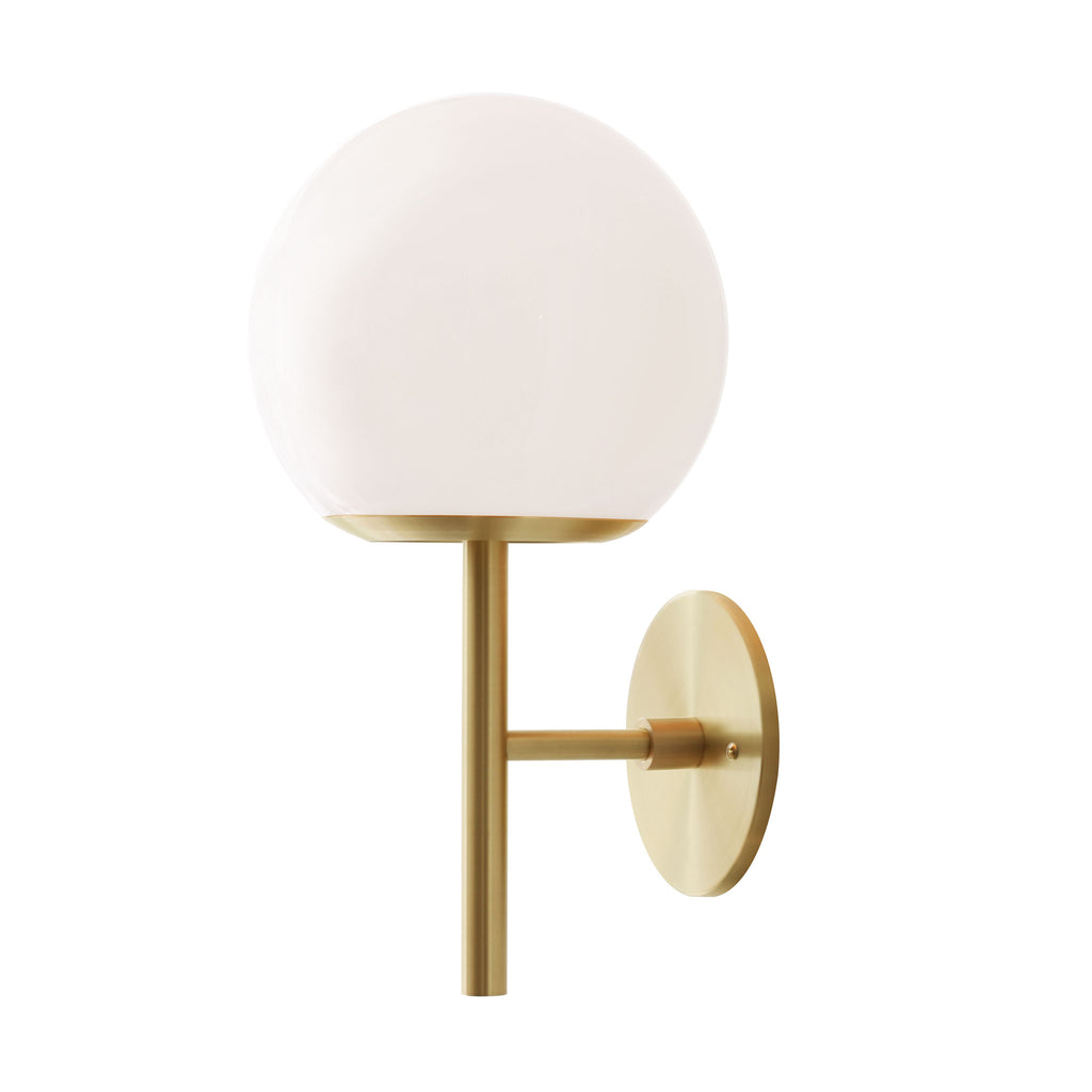 "Athena 8"" Wall Sconce. Shown in Brass finish with Opal glass. (G19 light bulb shown, not included). Cedar and Moss."