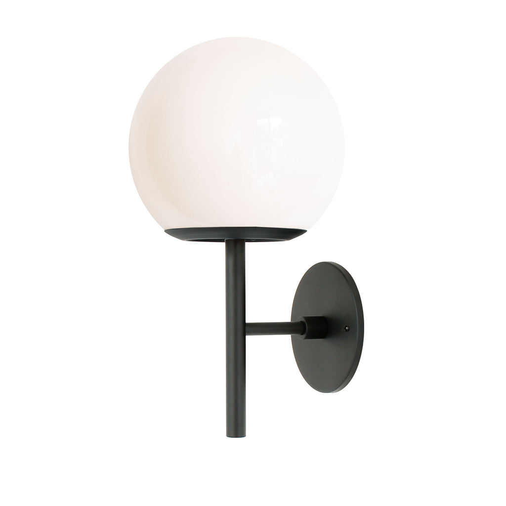 "Athena 8"" Wall Sconce. Shown in Matte Black finish with Opal glass. (G19 light bulb shown, not included). Cedar and Moss."