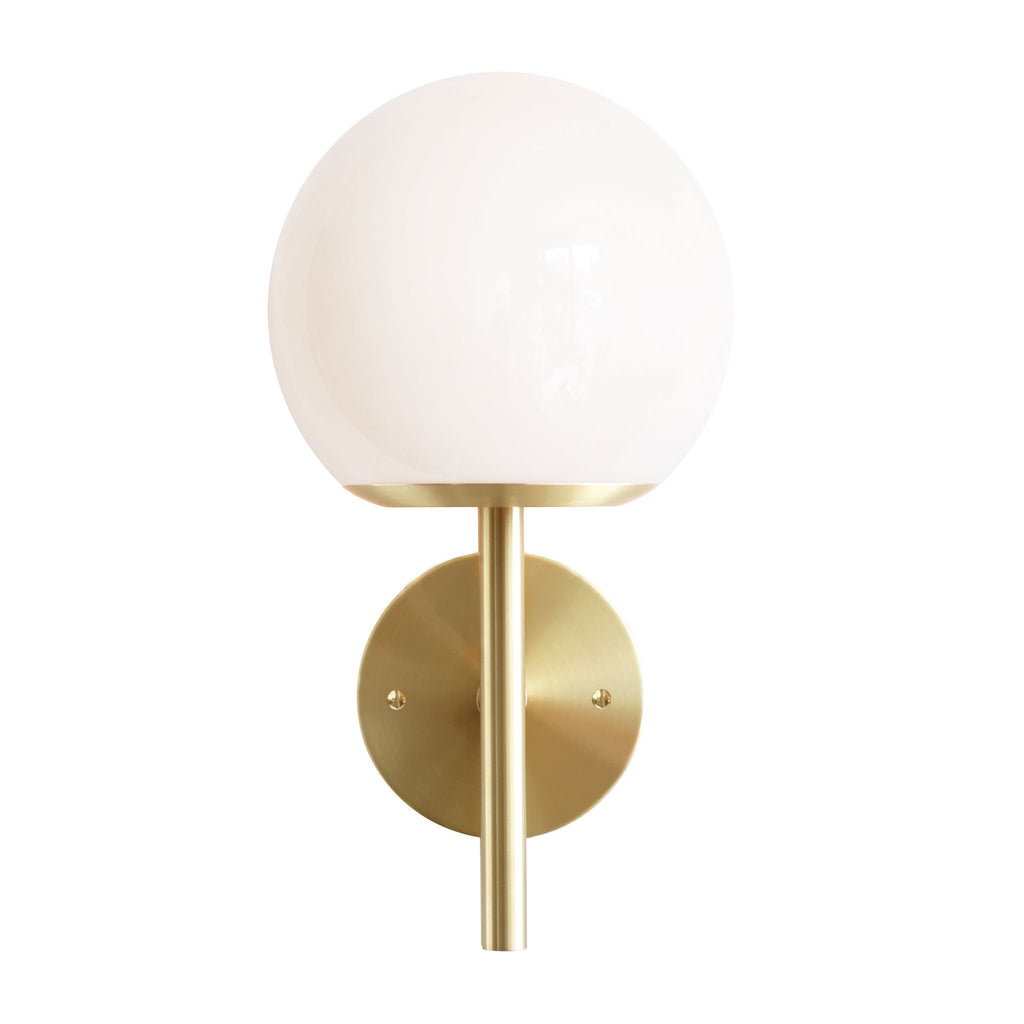 "Athena 8"" Wall Sconce. Shown in Brass finish with Opal glass. (G25 light bulb shown, not included). Cedar and Moss."