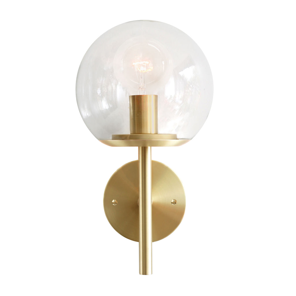 "Athena 8"" Wall Sconce. Shown in Brass finish with Clear glass. (G25 Bulb shown, not included). Cedar and Moss."