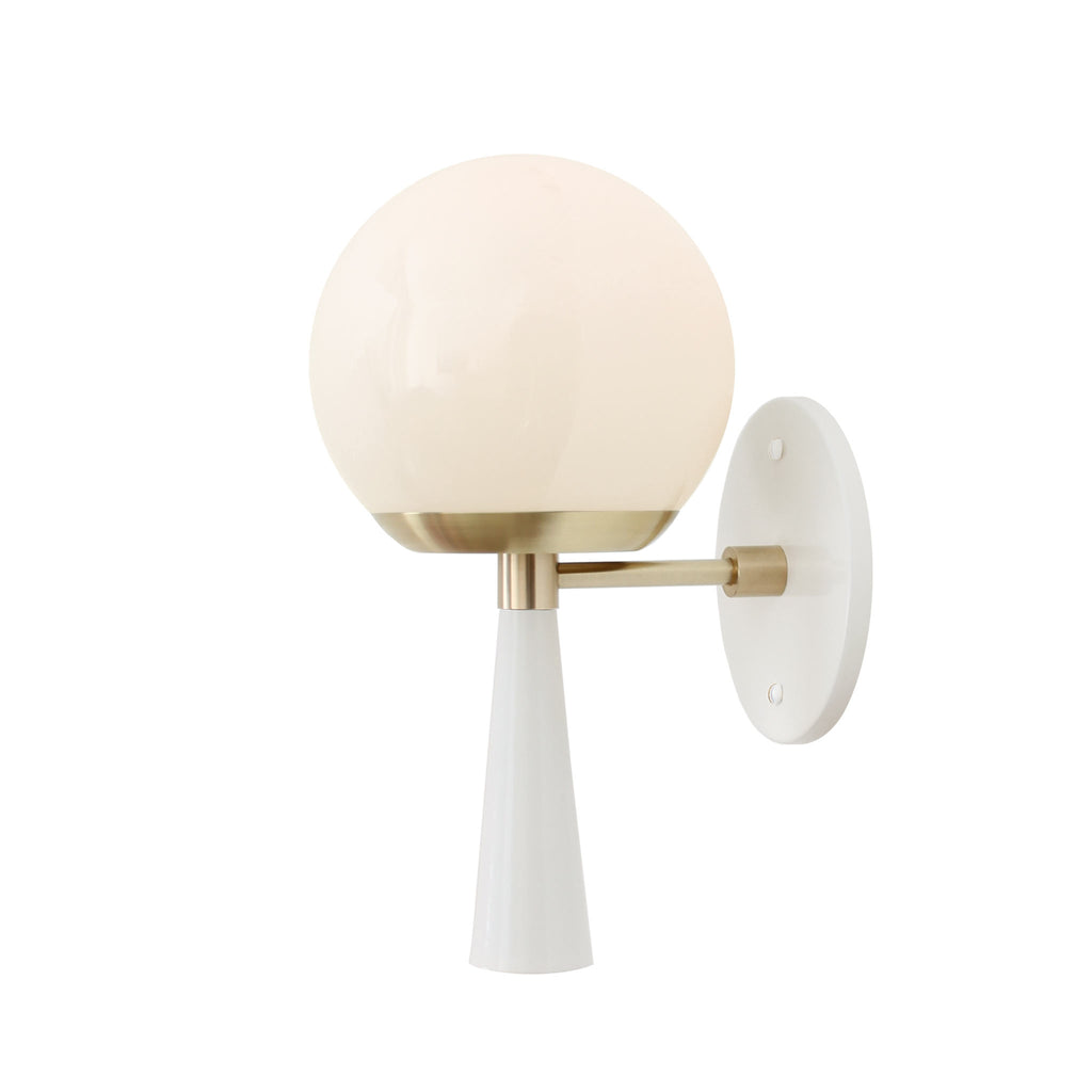 Audrey 6 Sconce. Shown in Gloss White and Brass with Opal Glass. (G16.5 light bulb shown, not included). Cedar and Moss.