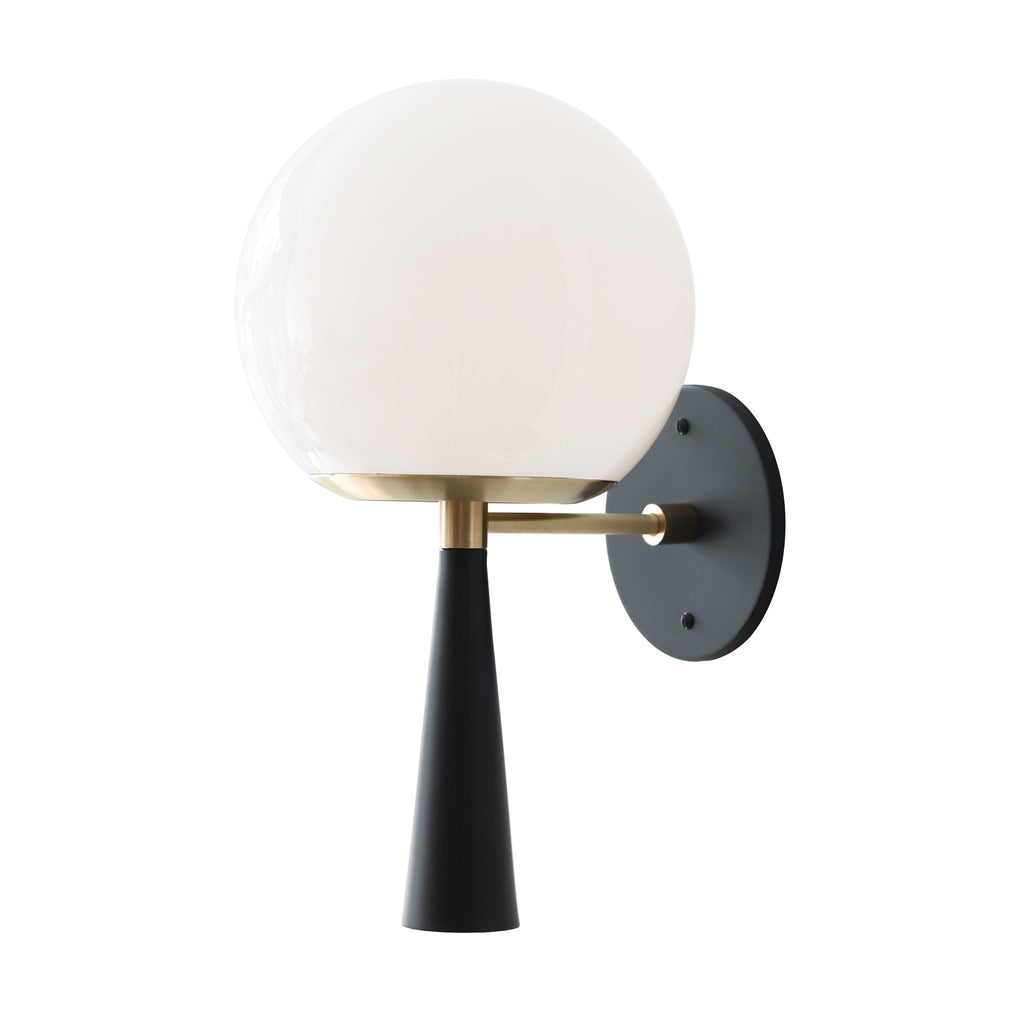 Audrey 8. Shown in Matte Black and Brass finish with opal glass. (G19 light bulb shown, not included). Cedar and Moss.