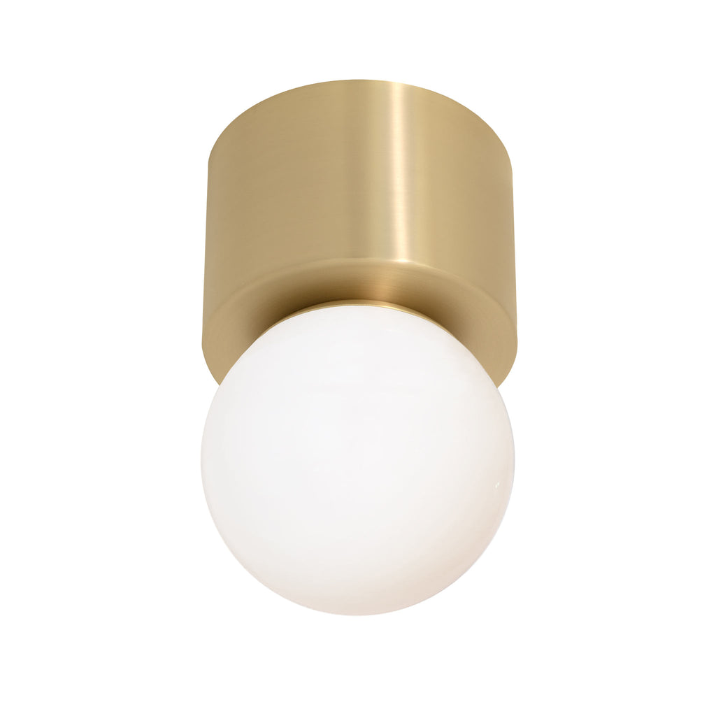 "Sonya Wall Sconce or Ceiling Surface Mount with 6"" Glass Globe. Shown in Brass finish. (G16 LED bulb included). Cedar and Moss."