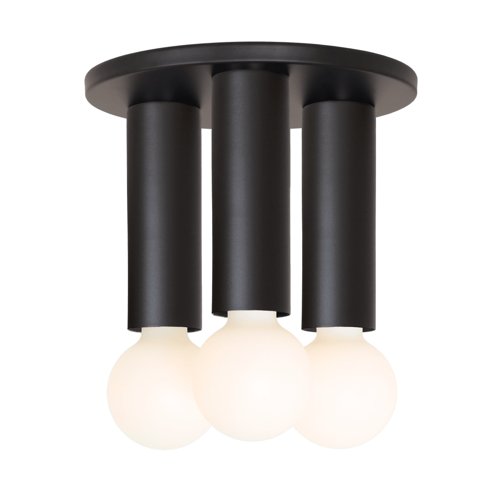 Fjord 3 Surface. Shown in Matte Black finish. (G25 Tala light bulbs shown, not included). Cedar and Moss.