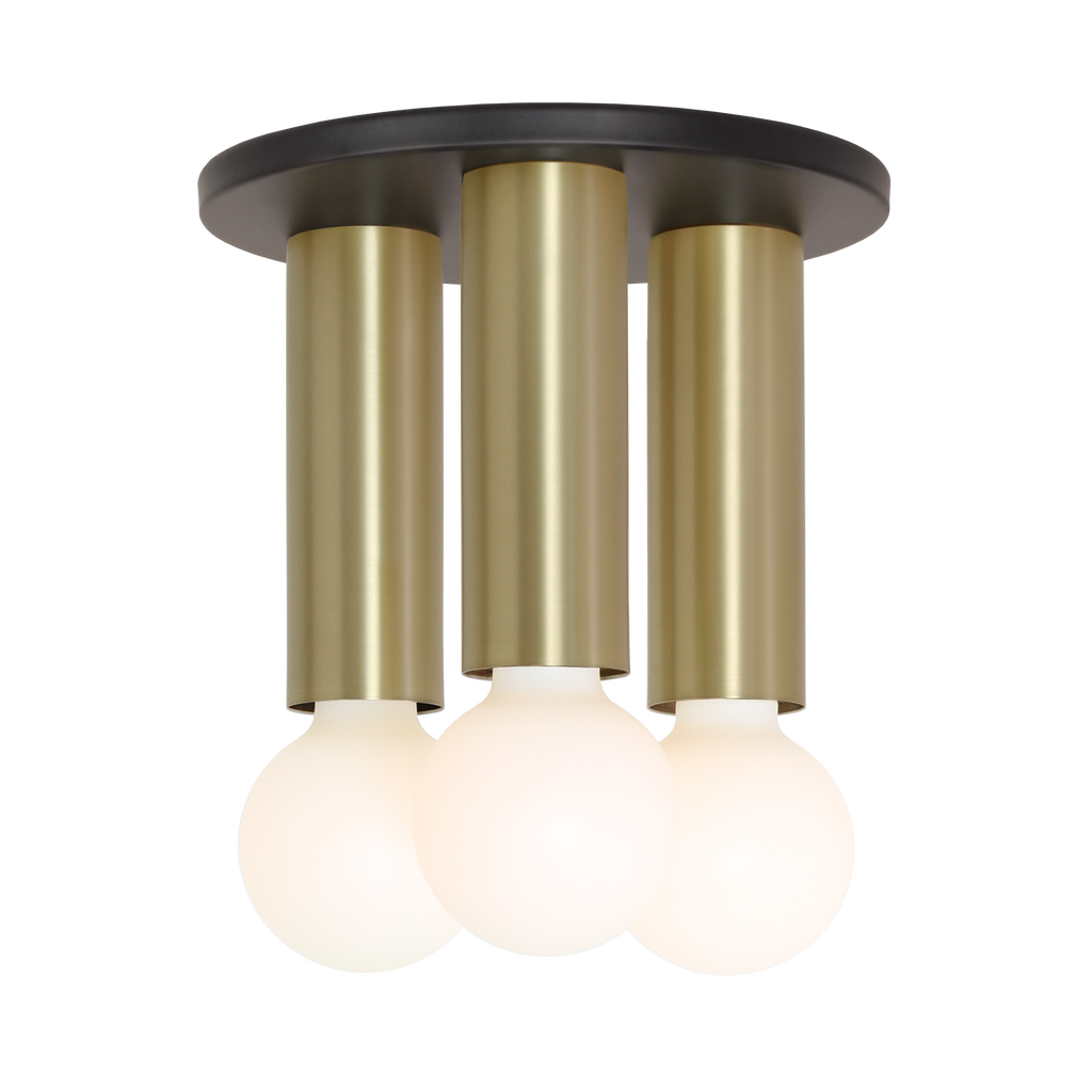 Fjord 3 Surface. Shown in Matte Black + Brass finish. (G25 Tala light bulbs shown, not included). Cedar and Moss.