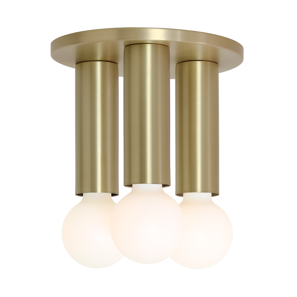 Fjord 3 Surface. Shown in Brass finish. (G25 Tala light bulbs shown, not included). Cedar and Moss.