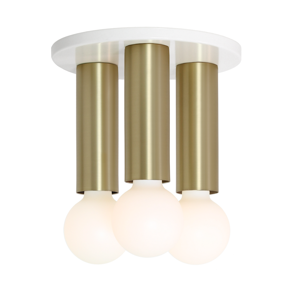Fjord 3 Surface. Shown in White + Brass finish. (G25 Tala light bulbs shown, not included). Cedar and Moss.