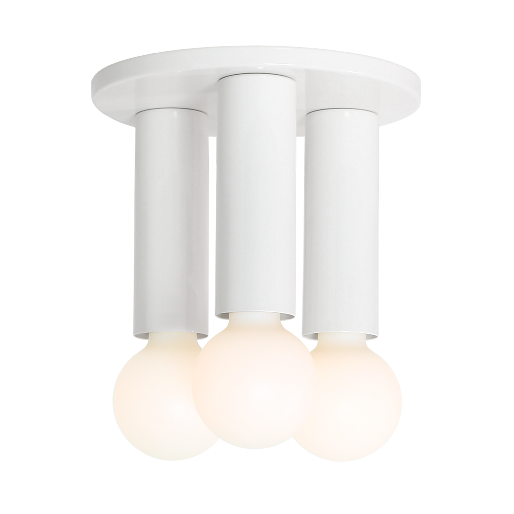 Fjord 3 Surface. Shown in White finish. (G25 Tala light bulbs shown, not included). Cedar and Moss.