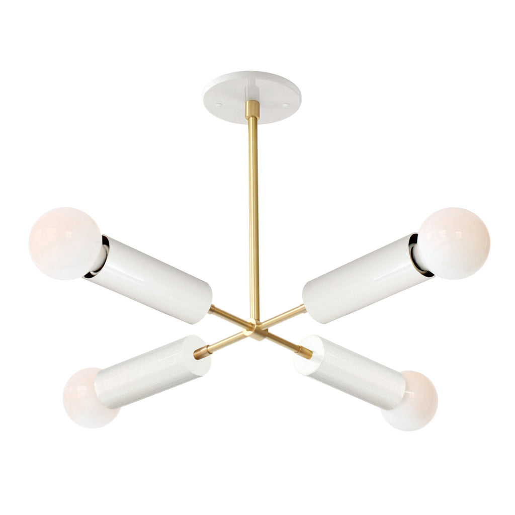 Fjord Compass Chandelier. Shown in Gloss White + Brass finish. (G25 light bulbs shown, not included). Cedar and Moss.