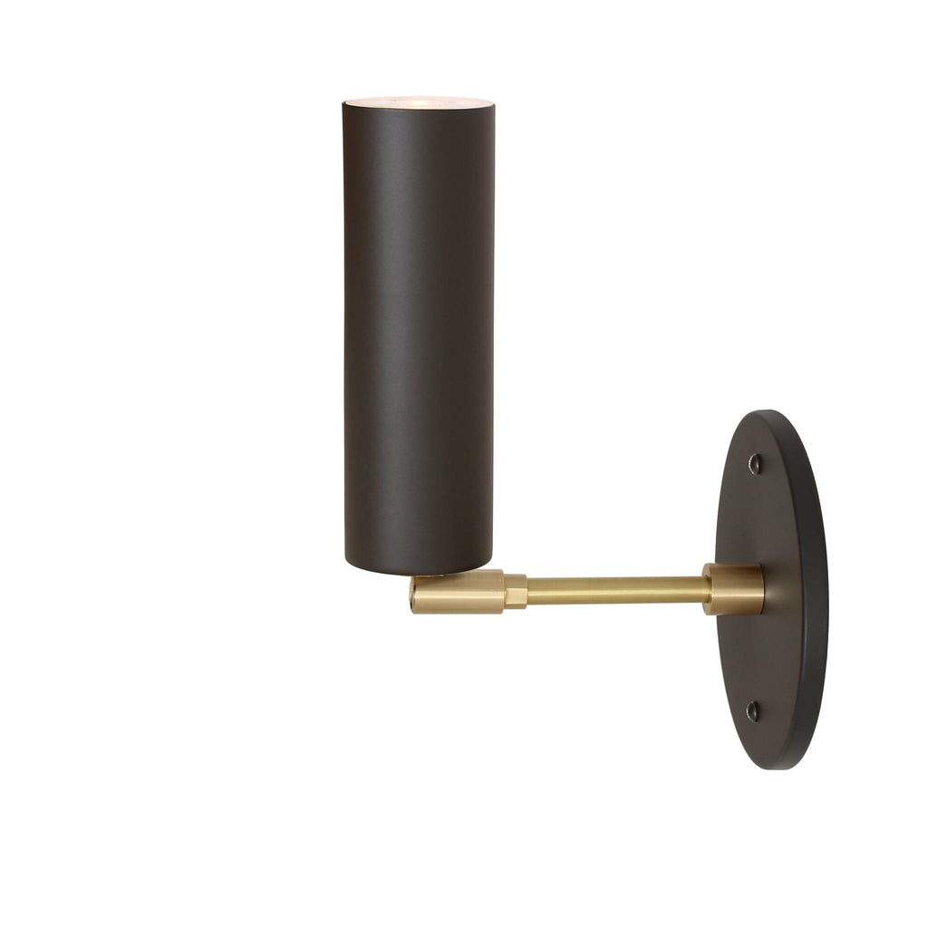 "Fjord Spot Wall Sconce. Shown in Matte Black + Brass Finish with 3"" Arm. (LED light bulb included). Cedar and Moss."