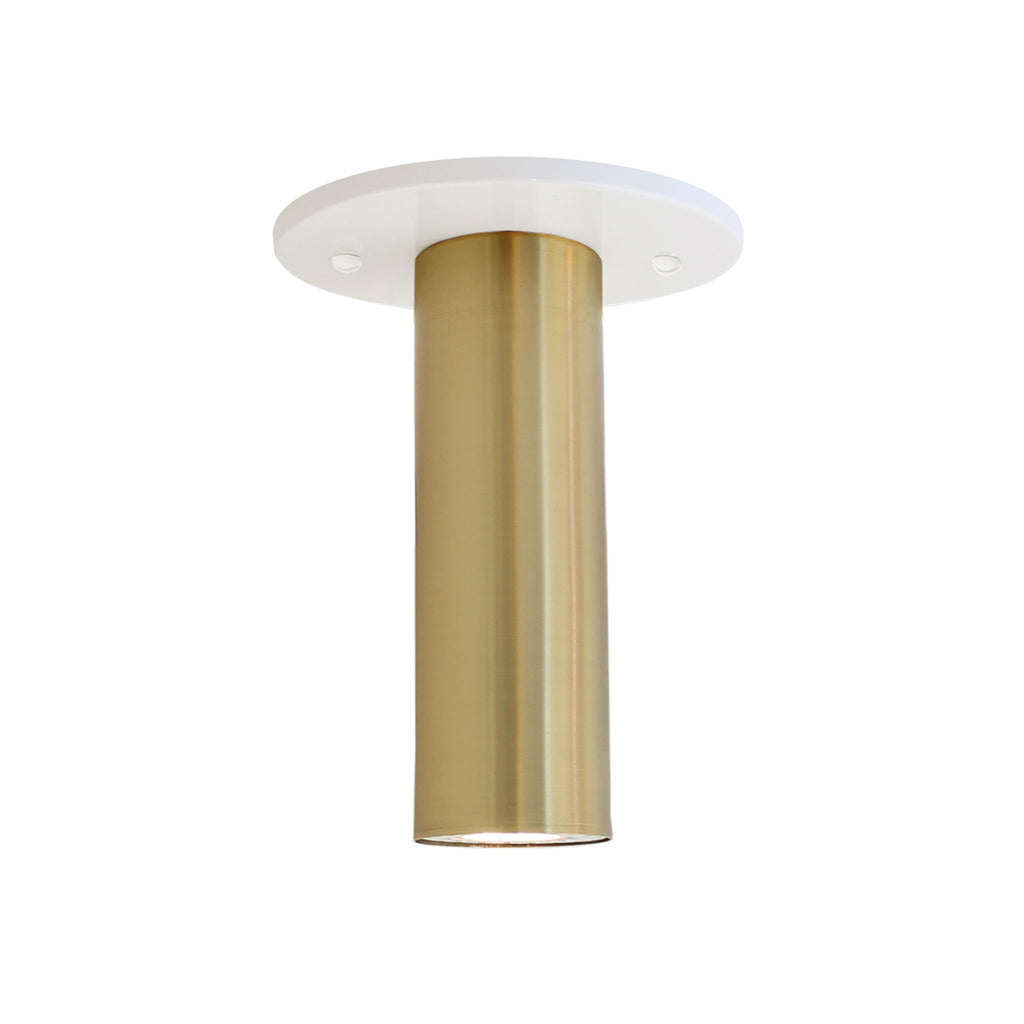 Fjord Surface. Shown in White + Brass. Recessed + LED bulb option (bulb included). Cedar and Moss.