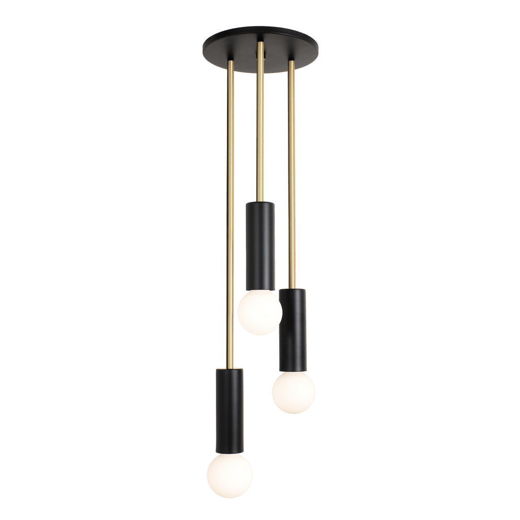 "Fjord Waterfall. Shown at 31"" length in Matte Black + Brass finish. (G25 light bulbs shown, not included). Cedar and Moss."