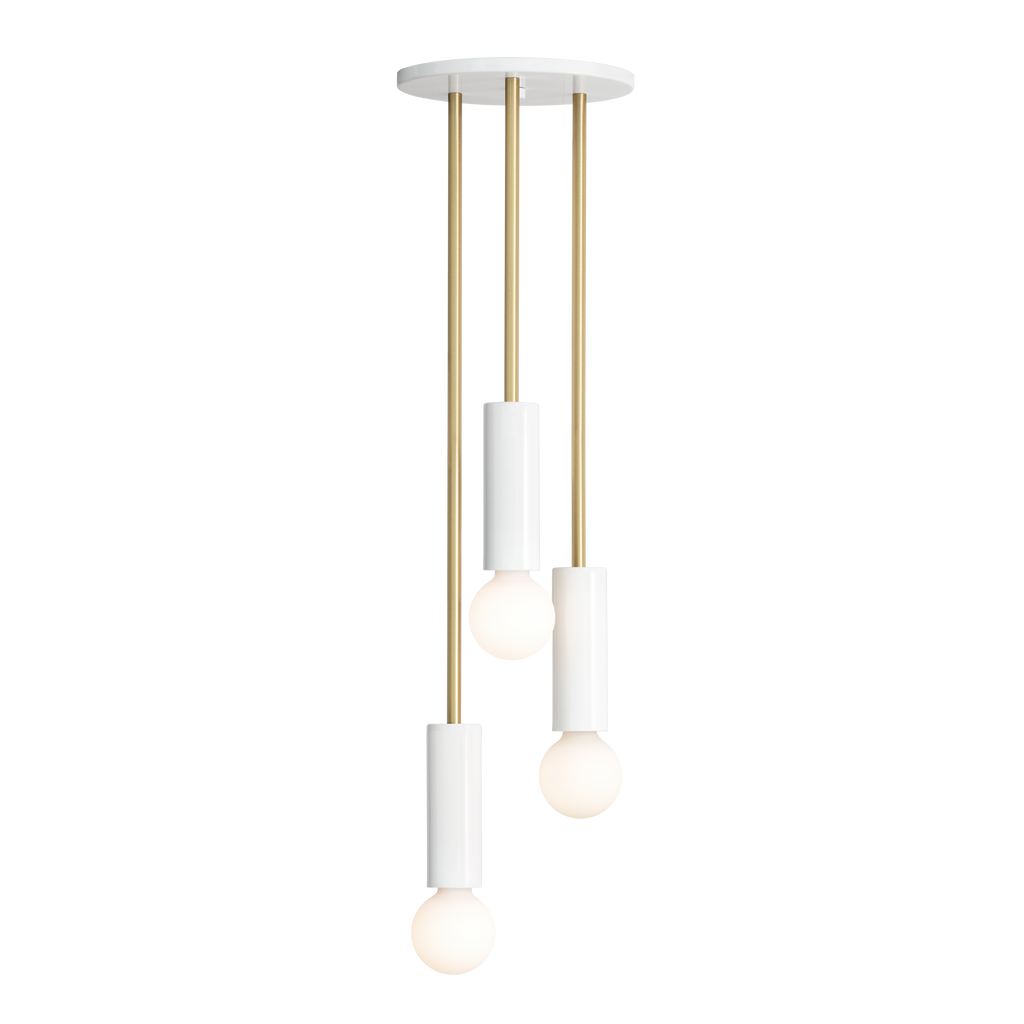 "Fjord Waterfall. Shown at 31"" length in White + Brass finish. (G25 light bulbs shown, not included). Cedar and Moss."