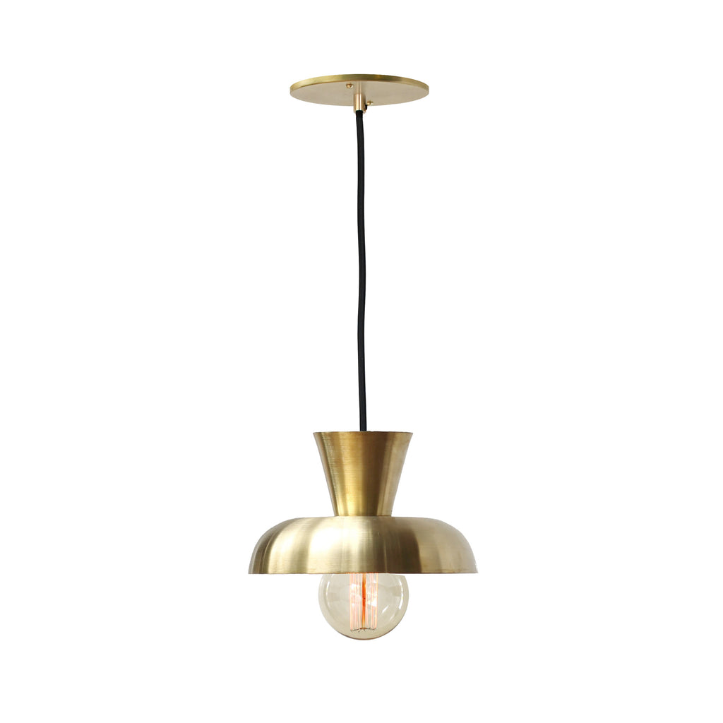 Isle Cord Pendant. Shown in Brass finish. (G30 Edison light bulb shown, not included). Cedar and Moss.